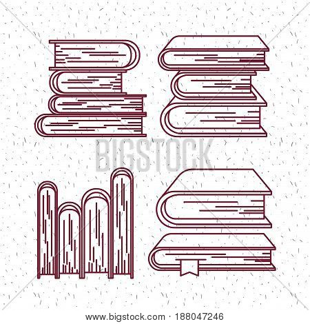 white background with sparkles and silhouette set books office vector illustration