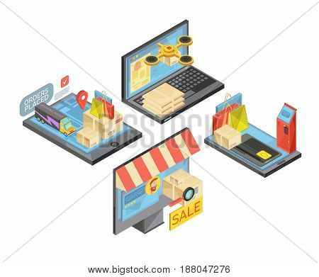Online shopping isometric compositions with packages and bags, payment, delivery, support service, mobile devices isolated vector illustration