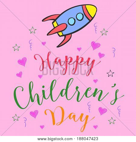 Colorful childrens day doodle style vector illustration
