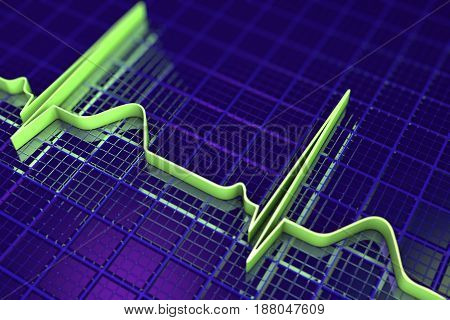 Electrocardiogram, ECG medical background, scienctific background 3D illustration