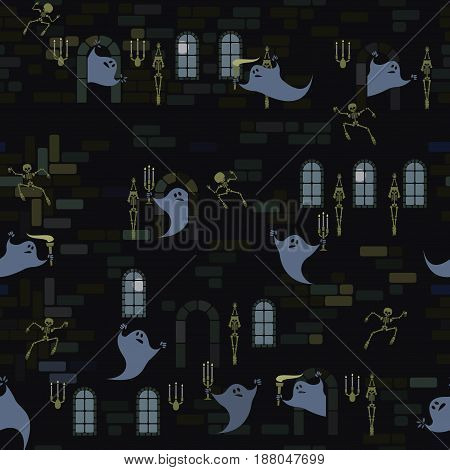 Vector illustration depicting a seamless pattern, in the form of a castle and ghosts