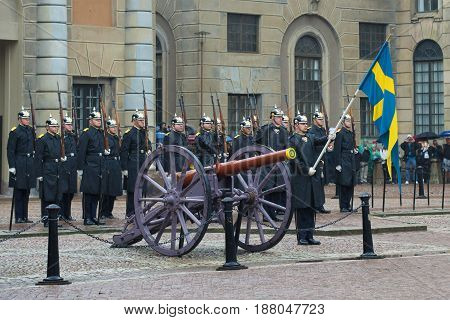 STOCKHOLM, SWEDEN - AUGUST 29, 2016: Divorce honor guard at the walls of the Royal Palace