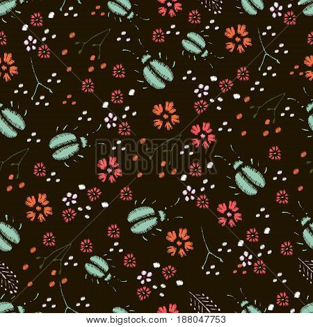 Embroidery Stitches With Meadow Flowers Dragonflies. Hand Drawn Vector Fashion Seamless Pattern On Black Background. For Fabric Textile Decoration.