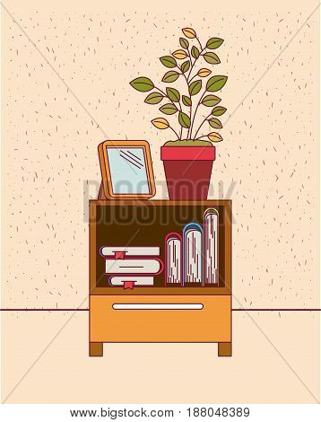 color background with sparkles and decorative cabinet table with books and plantpot vector illustration