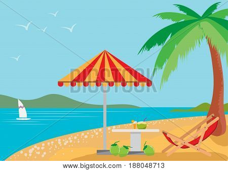 summer holidays on the beach,  with landscape of blue sea, Summer vacation, Flat style design, vector illustration.