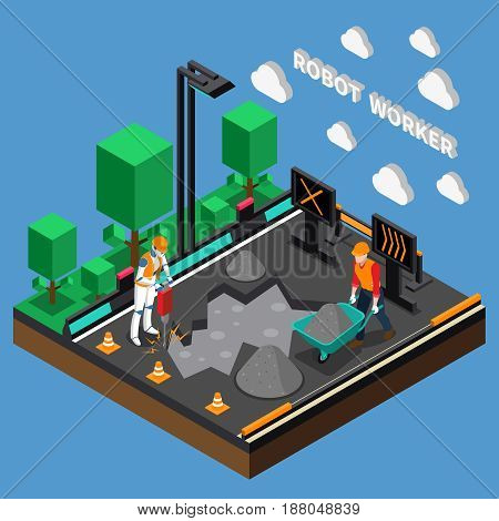 Robot worker professions 3d design concept with humanoids performing heavy physical work at construction object isometric vector illustration