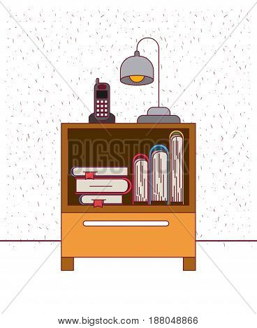 color background with sparkles nightstand with phone lamp and books vector illustration