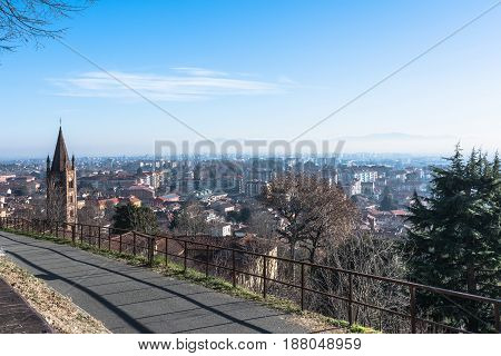 Aerial view of old town of Rivoli from the Castle, Turin, Italy