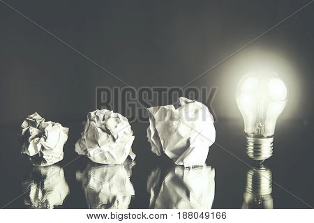 new idea concept with crumpled office paper
