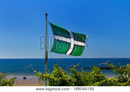 Flag of Devonshire against the background of the sea and the blue sky