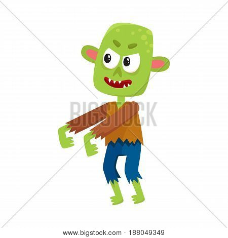 Scary little green zombie monster in rags, Halloween costume, cartoon vector illustration isolated on a white background. Monster, zombie, walking dead with arms stretched forward