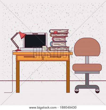 color background with sparkles work place office interior with tech laptop and stack books vector illustration