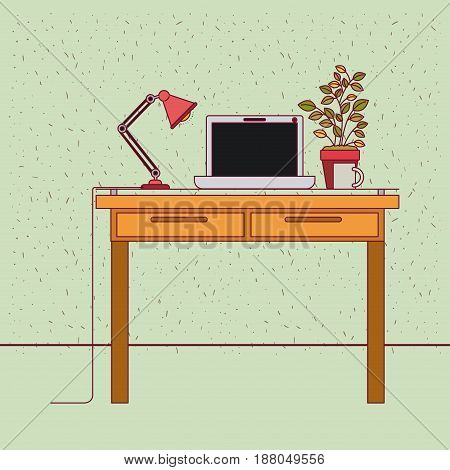 color background with sparkles work place office interior with tech laptop and plantpot vector illustration