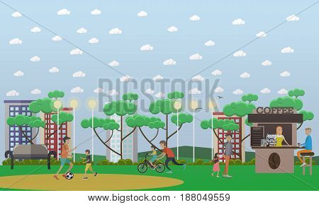Vector illustration of father playing football with son and father teaching his son to ride bike. Childcare and parenting concept flat style design element.
