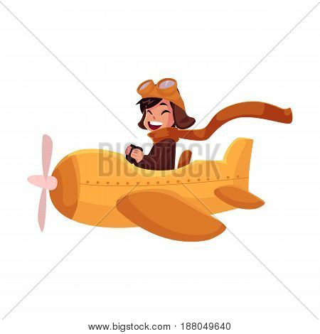 Little boy in pilot helmet and goggles flying in retro airplane, cartoon vector illustration isolated on white background. Cute happy little boy pilot flying in retro style airplane, plane, aircraft