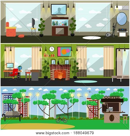 Vector set of father interior posters, banners. Nursery, living room and park interior. Places where parents live, play games, take rest with their sons and daughters flat style design elements.