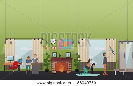 Vector illustration of fathers playing games, doing homework with their children. Childcare and upbringing concept flat style design element.