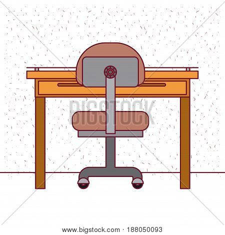 white background with sparkles closeup work place office interior vector illustration
