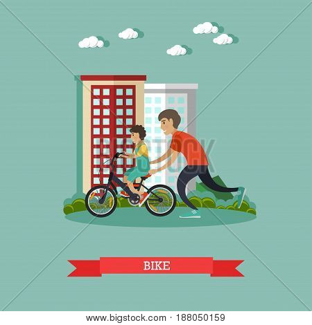 Vector illustration of father teaching his son to ride a bicycle. Childcare and parenting concept flat style design element.