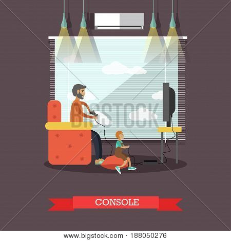 Vector illustration of father and son playing video games together. Game console concept flat style design element.