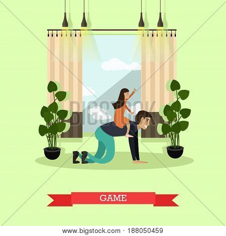 Vector illustration of father and daughter playing games together. Childcare and parenting concept flat style design element.