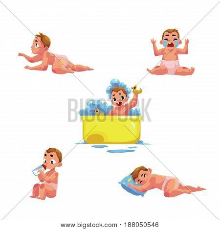 Little baby kid, infant daily routine - eat, sleep, take bath, cry, crawl, cartoon vector illustration isolated on white background. Little Caucasian kid, baby, infant daily activities
