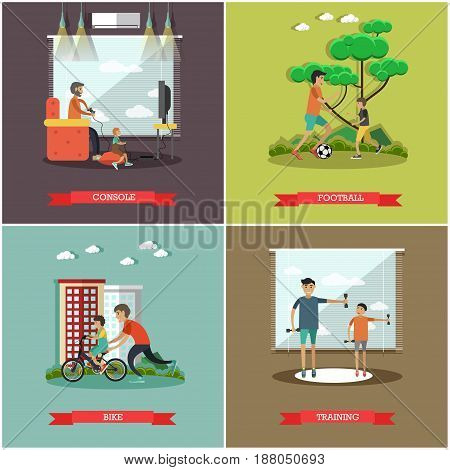 Vector set of father concept square posters. Console, Football, Bike and Training flat style design elements.