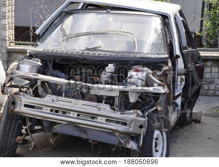 Broken car. car after the crash. crashed car