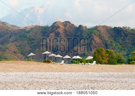View of Cirali Olympos beach. Antalya Province. Turkey