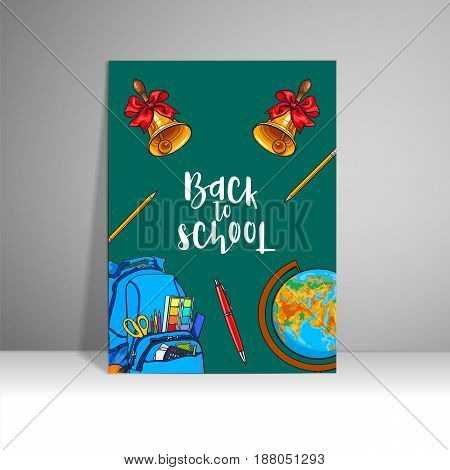 poster with the inscription welcome to the school, sketch vector illustration on white background. Hand drawn school bag bell globe clock frame with round place for text