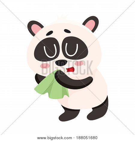 Sick baby panda having cold, flu, blowing nose into handkerchief, facial tissue, cartoon vector illustration isolated on white background. Sick little panda having flue, cold, holding handkerchief