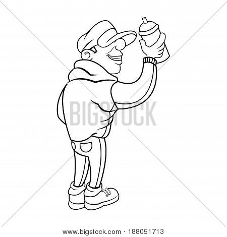 cartoon young guy graffiti with spray outline vector illustration