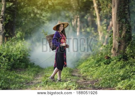 A portrait of a beautiful asian woman smiling brightly at the camera,beautiful happy Asian girl smile and laugh together,happy woman,young asian woman in a park.