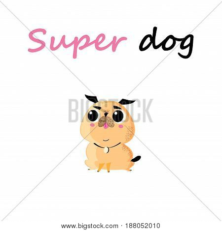 Funny vector cartoon small dog on white background