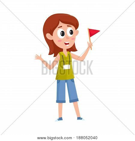 Pretty girl working as tour guide, holding flag, meeting tourist groop, cartoon vector illustration isolated on white background. Full length portrait of young and pretty female tour guide at work