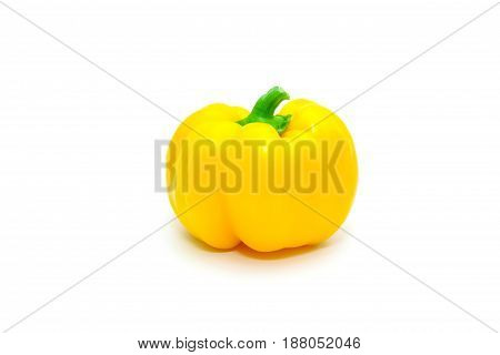 Green, Yellow And Red Fresh Bell Pepper Or Capsicum Isolated On White Background.