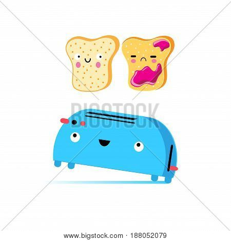 Funny vector cartoon toast and toaster on a white background