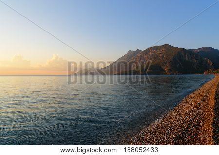 Cirali Olympos Beach At Sunrise. Turkey