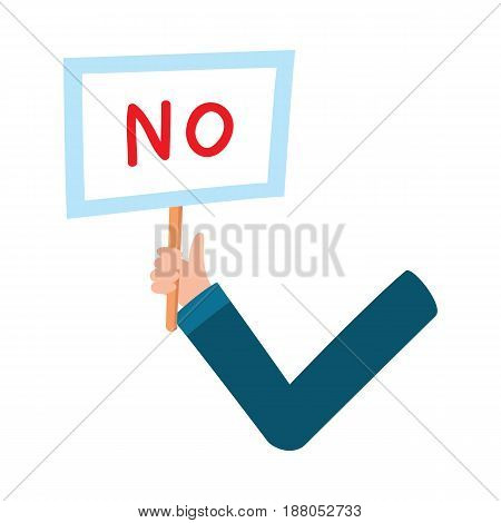 Male arm, hand in business suit sleeve holding NO sign, showing failure, denial, cartoon vector illustration on white background. Funny cartoon male arm showing yes sign, plate