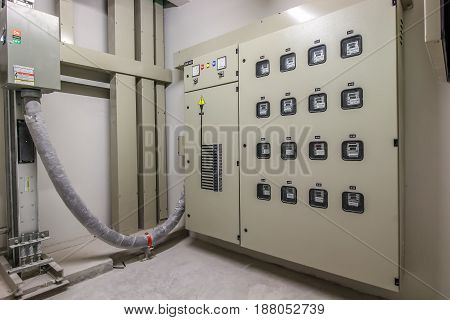 Electric meter voltage control room of a building