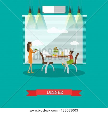 Vector illustration of mother serving dinner and her daughter sitting at dining table. Dining Room interior. Family dinner flat style design element.