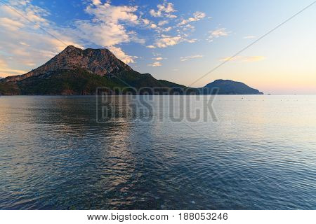 View On Moses Mountain From Adrasan Beach In The Morning. Turkey
