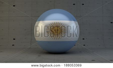 Argentina flag sphere icon isolated in concrete room 3d render