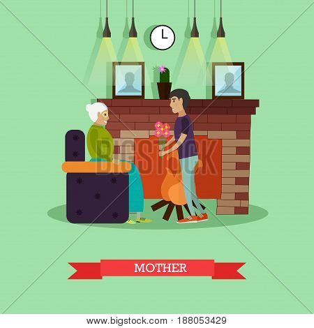 Vector illustration of adult son giving flowers to his elderly mother sitting in armchair at fireplace. Mother concept design element in flat style.
