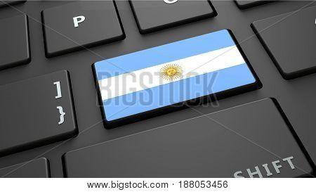 Argentina flag keyboard enter button 3d render