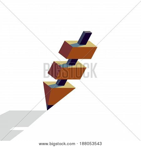Pencil with black core. Pencil structure with several segments, flat style vector illustration.
