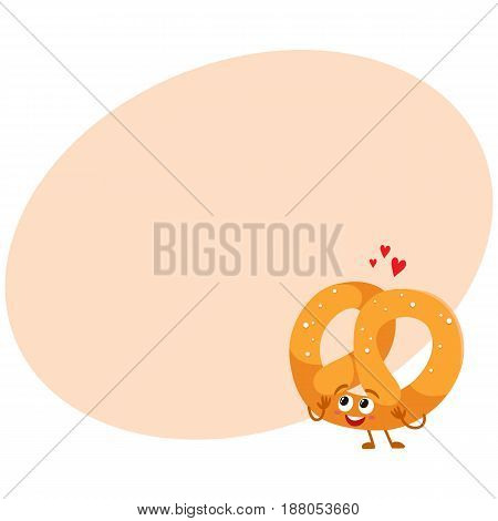 Funny German pretzel character with smiling human face, cartoon vector illustration with space for text. Soft and crispy pretzel character with smiling face, traditional Oktoberfest food