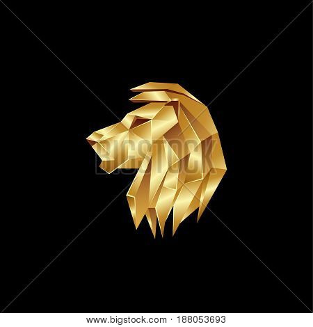 Golden lion head. Polygon style lion logo on a black background.