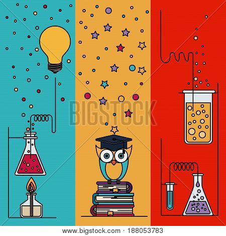 multicolored section background with sparkles and owl with elements laboratory and knowledge vector illustration