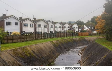 Several identical houses near Alphington Brook. Exeter. Devon. UK